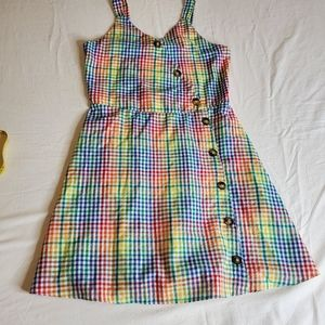Girls Rainbow Checkered A-Line Dress sz 16